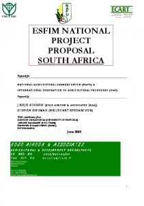 ESFIM NATIONAL PROJECT PROPOSAL SOUTH AFRICA