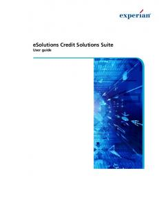 esolutions Credit Solutions Suite User guide