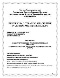 ESOTERICISM, LITERATURE AND CULTURE IN CENTRAL AND EASTERN EUROPE