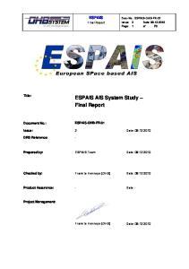 ESPAIS AIS System Study Final Report