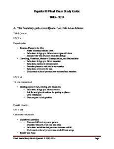 Español II Final Exam Study Guide