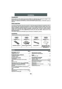 ESPAÑOL S-1. Introducción. Notas especiales. Accesorios ÍNDICE. Reproducción de cintas Audición de una cinta de cassette... 15