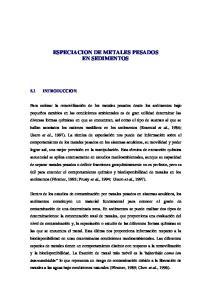 ESPECIACION DE METALES PESADOS EN SEDIMENTOS