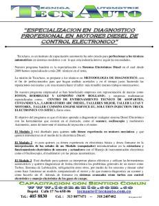 ESPECIALIZACION EN DIAGNOSTICO PROFESIONAL EN MOTORES DIESEL DE CONTROL ELECTRONICO