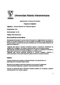Especialización en Docencia Universitaria. Programa de Asignatura