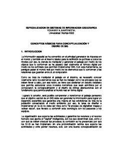 ESPECIALIZACION EN SISTEMAS DE INFORMACION GEOGRAFICA YOVANNY A. MARTINEZ M. Universidad Distrital-2003