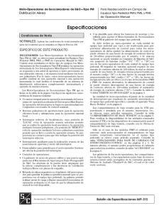 Especificaciones. Condiciones de Venta