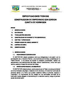 ESPECIFICACIONES TECNICAS CONSTRUCCION DE EMPEDRADO CON CORDON CUNETA DE HORMIGON