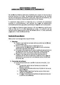 ESPECIFICACIONES TECNICAS LABORATORIO PARA EL DESARROLLO DEL RAZONAMIENTO
