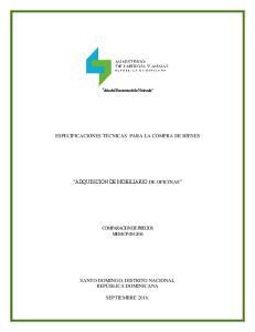 ESPECIFICACIONES TECNICAS PARA LA COMPRA DE BIENES ADQUISICION DE MOBILIARIO DE OFICINAS COMPARACION DE PRECIOS MEM-CP