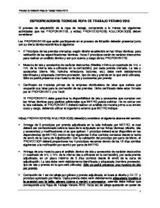 ESPECIFICACIONES TECNICAS ROPA DE TRABAJO VERANO 2015