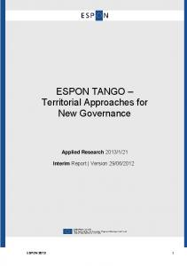 ESPON TANGO Territorial Approaches for New Governance