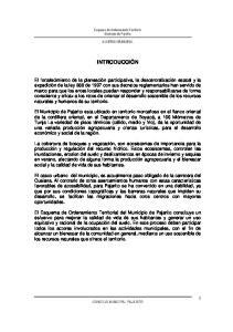 Esquema de Ordenamiento Territorial Municipio de Pajarito ACUERDO MUNICIPAL INTRODUCCIÓN