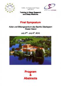 ESRS - EU Marie Curie Project Training in Sleep Research and Sleep Medicine. Final Symposium