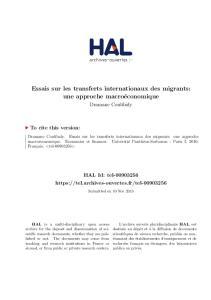 Essais sur les transferts internationaux des migrants: une approche macroéconomique