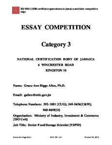 ESSAY COMPETITION. Category 3
