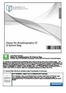 Essay On Autobiography Of A School Bag