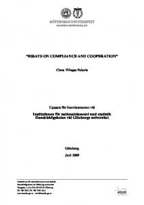 ESSAYS ON COMPLIANCE AND COOPERATION