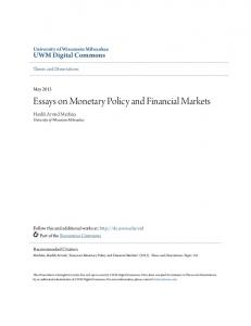 Essays on Monetary Policy and Financial Markets