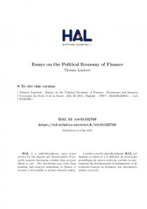 Essays on the Political Economy of Finance