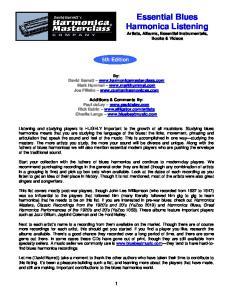 Essential Blues Harmonica Listening Artists, Albums, Essential Instrumentals, Books & Videos