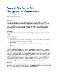 Essential Oils for the Pain Management of Osteoarthritis
