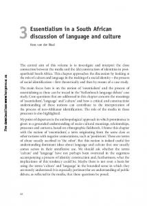 Essentialism in a South African discussion of language and culture