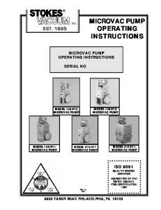 EST TABOR ROAD PHILADELPHIA, PA MODEL 146-H13 MODEL 148-H10 MICROVAC PUMP MICROVAC PUMP MODEL 149-H11 MICROVAC PUMP MODEL 412-H11