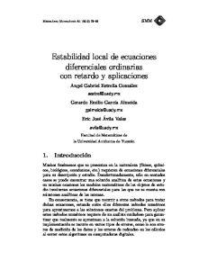 Estabilidad local de ecuaciones diferenciales ordinarias con retardo y aplicaciones