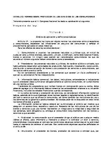 ESTABLECE NORMAS SOBRE PROTECCION DE LOS DERECHOS DE LOS CONSUMIDORES