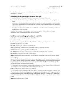 Establecimiento de las propiedades de una tabla
