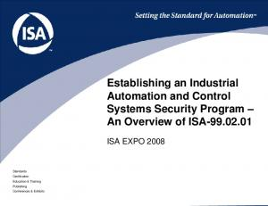 Establishing an Industrial Automation and Control Systems Security Program An Overview of ISA