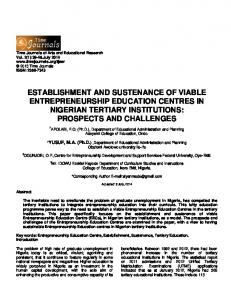 ESTABLISHMENT AND SUSTENANCE OF VIABLE ENTREPRENEURSHIP EDUCATION CENTRES IN NIGERIAN TERTIARY INSTITUTIONS: PROSPECTS AND CHALLENGES