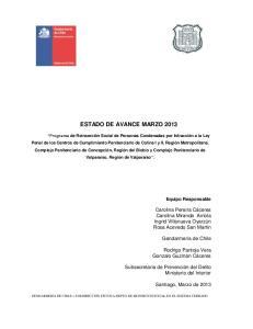 ESTADO DE AVANCE MARZO 2013
