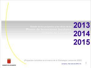 Estado de los proyectos y las obras de los Planes de Inversiones Insulares Cabildo de Lanzarote
