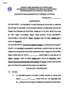 ESTADO LIBRE ASOCIADO DE PUERTO RICO AUTORIDAD DE ENERGIA ELECTRICA DE PUERTO RICO DEPARTAMENTO DE VENTAS AL POR MAYOR