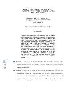 ESTADO LIBRE ASOCIADO DE PUERTO RICO MUNICIPIO AUTONOMO DE LA CIUDAD CAPITAL SAN JUAN BAUTISTA ORDENANZA SOBRE LAS TRADICIONALES FIESTAS DE LA CALLE