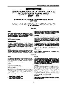 ESTADO NUTRICIONAL DE LA EMBARAZADA Y SU RELACION CON EL PESO AL NACER ( )