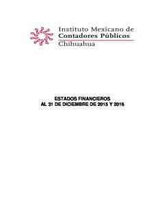 ESTADOS FINANCIEROS AL 31 DE DICIEMBRE DE 2015 Y 2016
