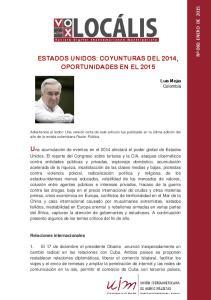ESTADOS UNIDOS: COYUNTURAS DEL 2014, OPORTUNIDADES EN EL 2015