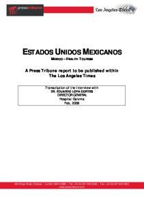 ESTADOS UNIDOS MEXICANOS MEXICO HEALTH TOURISM