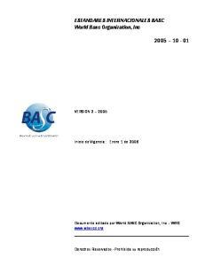 ESTANDARES INTERNACIONALES BASC World Basc Organization, Inc