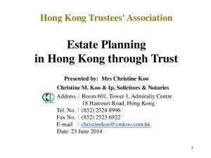 Estate Planning in Hong Kong through Trust