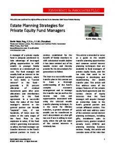Estate Planning Strategies for Private Equity Fund Managers