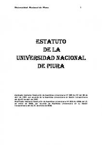 ESTATUTO DE LA UNIVERSIDAD NACIONAL DE PIURA
