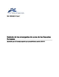Estatuto de los encargados de curso de las Escuelas Europeas