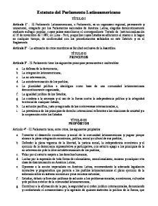 Estatuto del Parlamento Latinoamericano