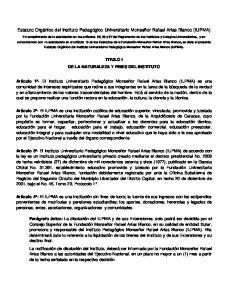 Estatuto Orgánico del Instituto Pedagógico Universitario Monseñor Rafael Arias Blanco (IUPMA)