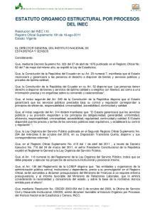 ESTATUTO ORGANICO ESTRUCTURAL POR PROCESOS DEL INEC