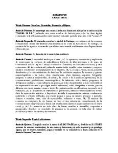 ESTATUTOS CANAL 13 S.A
